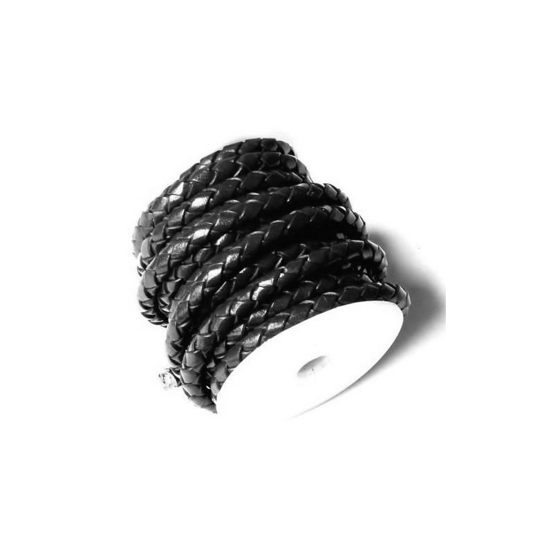 Cuero trenzado negro 4 mm.