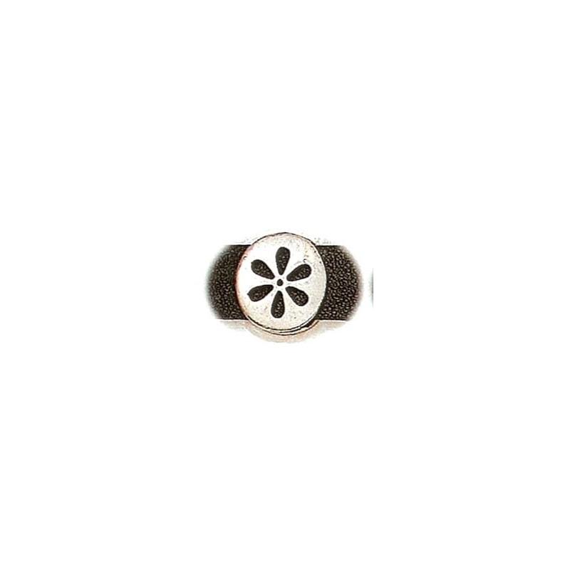 BRACELET P/CUERO 14X2,5mm RED.FLOR PLATA ANT. 17mm