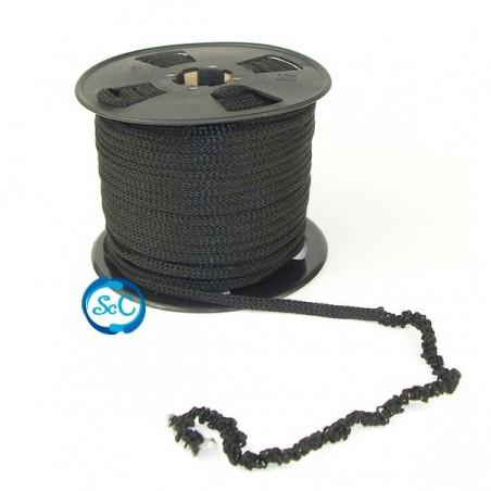 Pelo para muñecas negro de cordón cadeneta