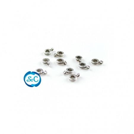 Entrepieza fina con anilla color plata 10 unidades