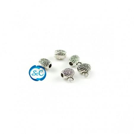 Entrepieza Flor con anillal color plata 5 unidades