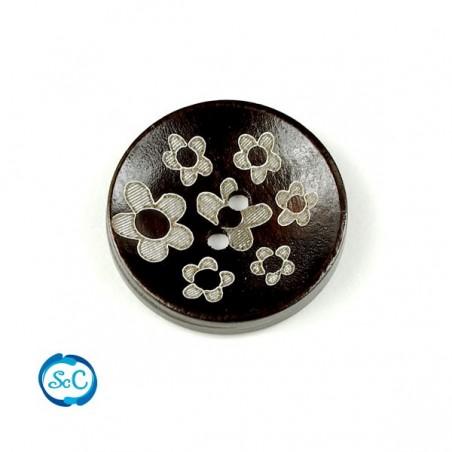 Botón de madera decorado 03