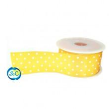 Cinta Amarilla lunares blancos 48 mm 1 metro