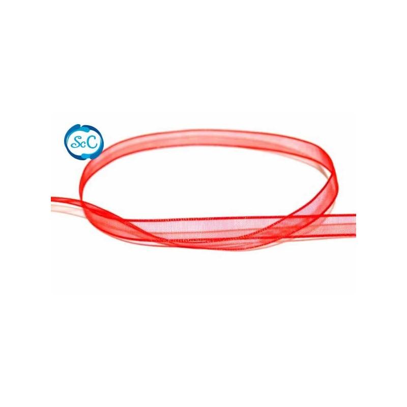 Cinta organza 6 mm Roja 1 metro