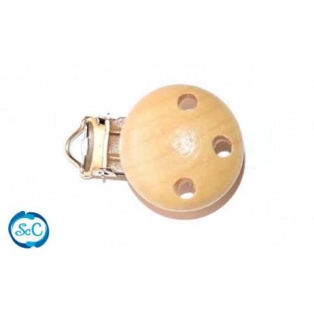 Chupetero botón de madera Natural