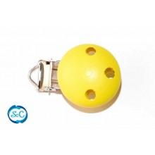 Chupetero botón de madera Amarillo