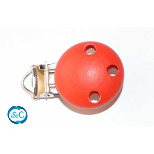 Chupetero botón de madera Rojo