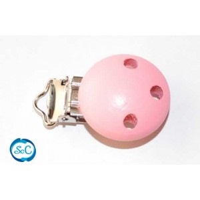 Chupetero botón de madera Rosa