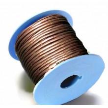 Rollo de cordon de cuero, 20 mts. 2 mm metalizado cobre
