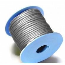 Rollo de cordon de cuero, 20 mts. 2 mm metalizado gris