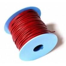 Rollo de cordon de cuero, 20 mts. 2 mm rojo