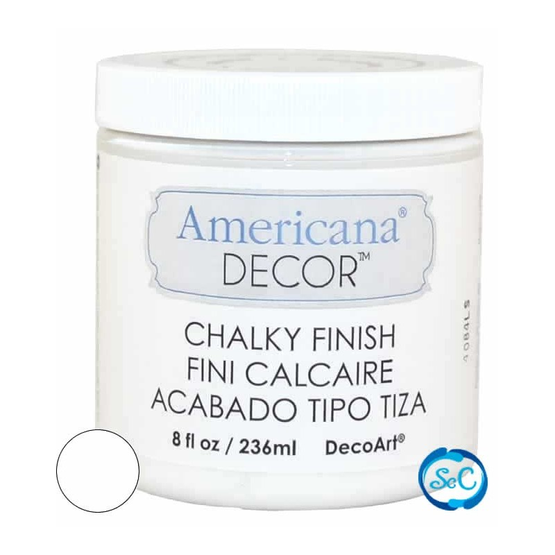 Pintura Chalky Finish Decoart, Blanco 236 ml ADC01
