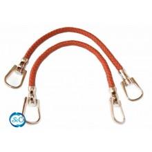 Asas para bolso cordón polipiel trenzado color marrón