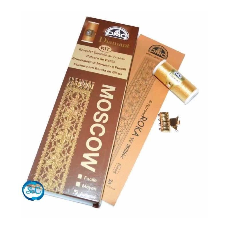 Kit pulsera bolillos Moscow color oro DMC DIamant