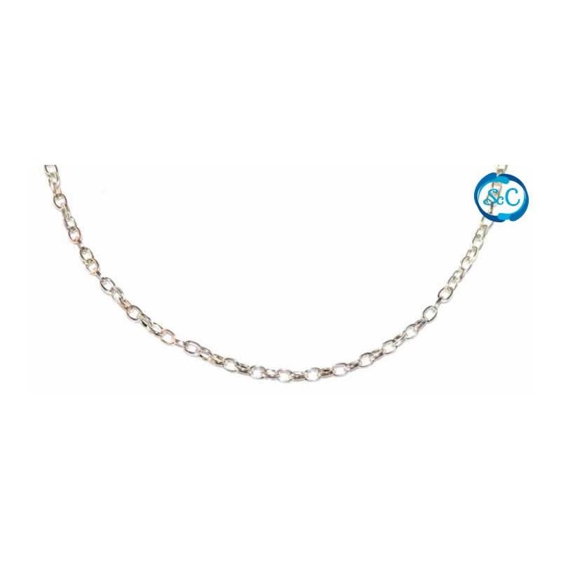 Cadena aluminio color plata, 3 mm,1 metro