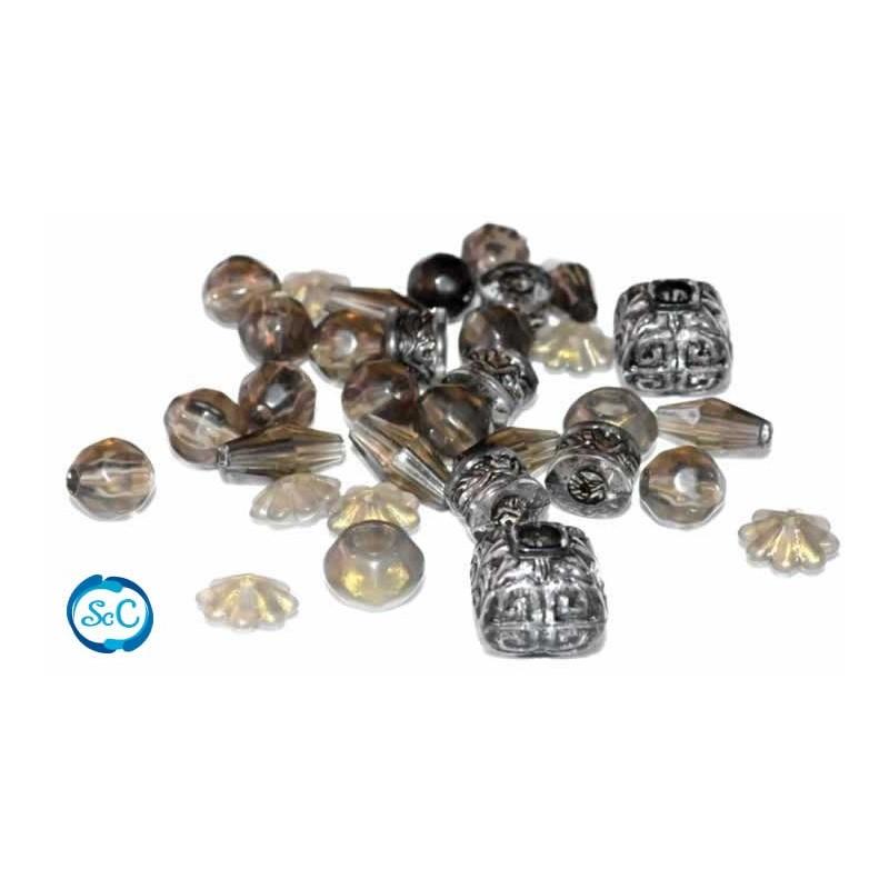 Set abalorios Pulsera, negro transparente