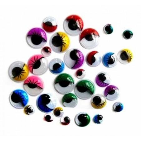 Ojos moviles con pestañas de colores