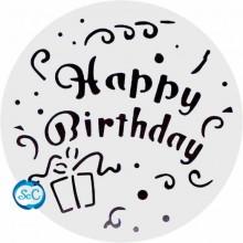 Plantilla para decorar tartas Happy Birthday