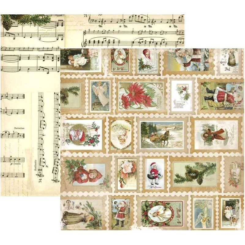 BoBunny Papel Christmas Collage Stamp