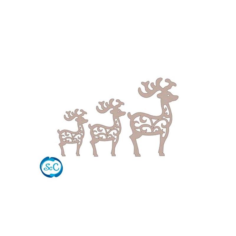 Siluetas carton Trio de renos