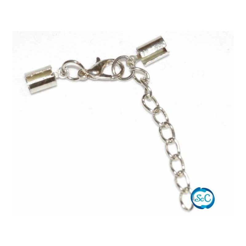 Cierre para cordon 3 mm con mosqueton y cadena color plata
