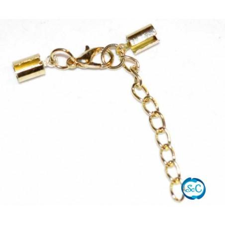Cierre para cordon 3 mm con mosqueton y cadena color oro