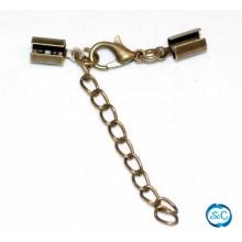 Cierre para cordon 3 mm con mosqueton y cadena color bronce