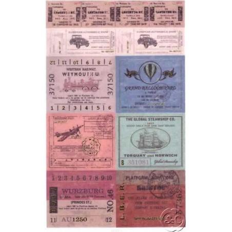 Hoja de pegatinas billetes de viaje