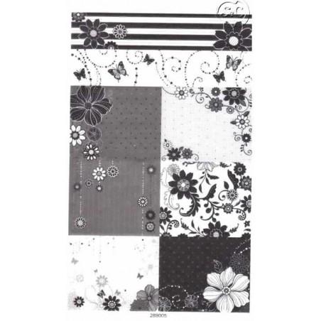 Hoja de pegatinas Flores en blanco y negro