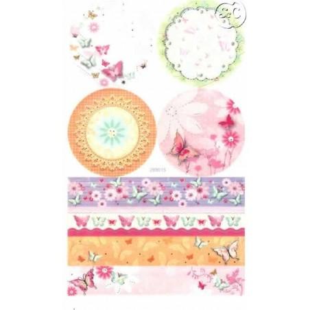 Hoja de pegatinas mariposas y flores de colores