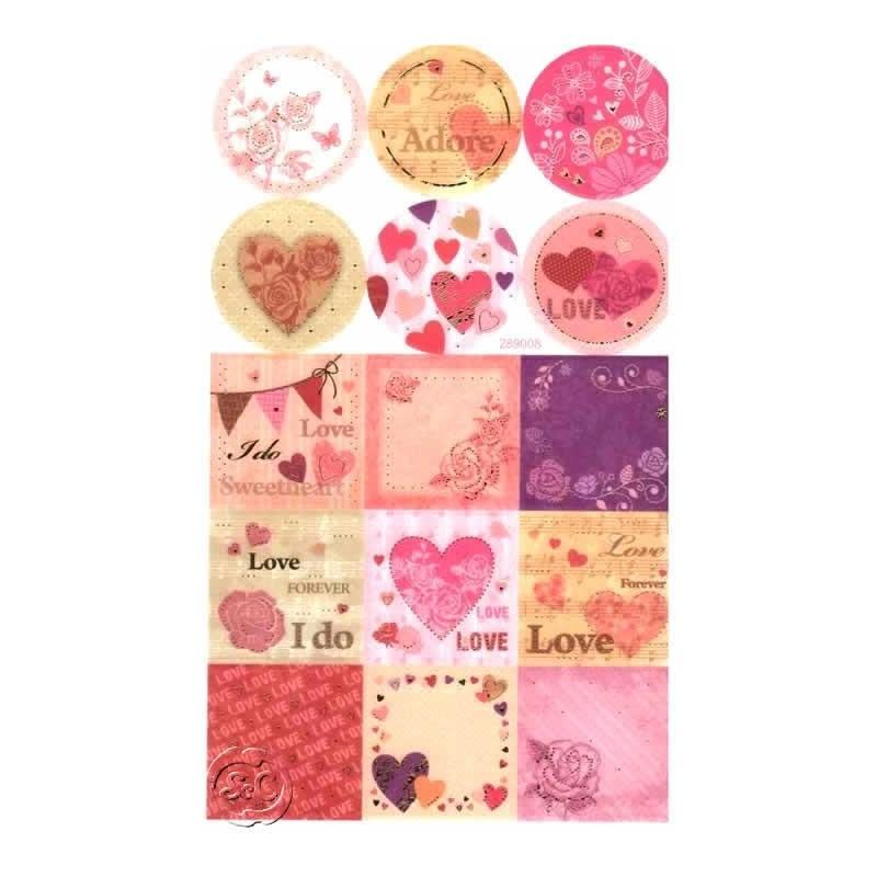 Hoja de pegatinas Love