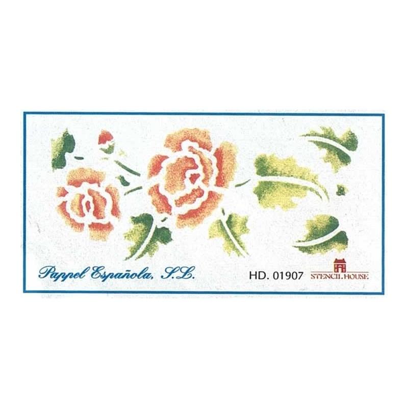 Plantilla rosas grandes azul