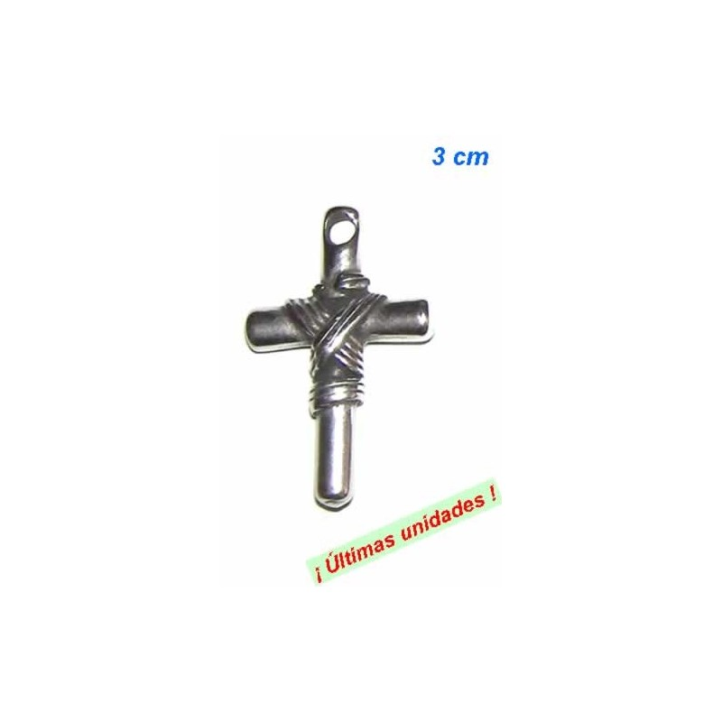 CHARM CRUZ LATINA PLATA ANTIGUA 28x18mm