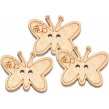 Boton de madera mariposa 1 unidad