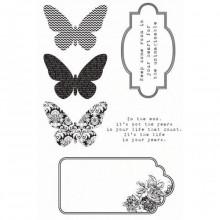 Sello silicona Kaleidoscope, Etiquetas y mariposas