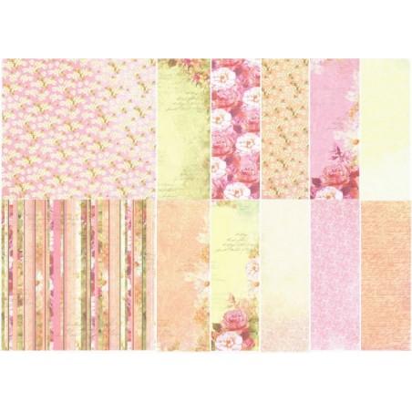 Surtido 12 papeles 15 x 15 cm Flores