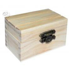 Caja pequeña de madera rectangular con tapa, 8 cm