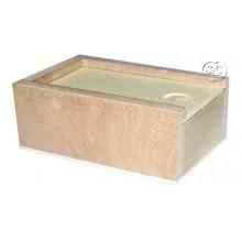 Caja pequeña de madera rectangular tapa deslizante