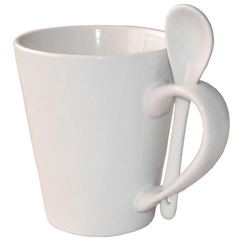 Taza porcelana blanca con cuchara