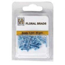 Floral brads glitter turquesa 3 mm