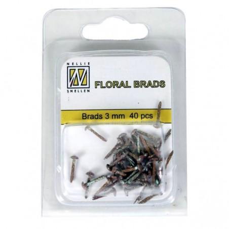 Floral brads glitter marron 3 mm