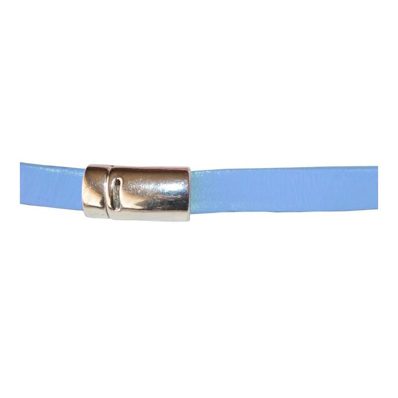 Tira de cuero azul 10 mm, 0,50 metros