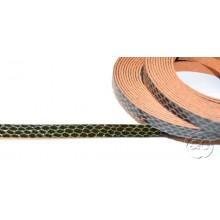 Tira de cuero fantasia serpiente verde oscuro, 8 mm, 0,50 metros