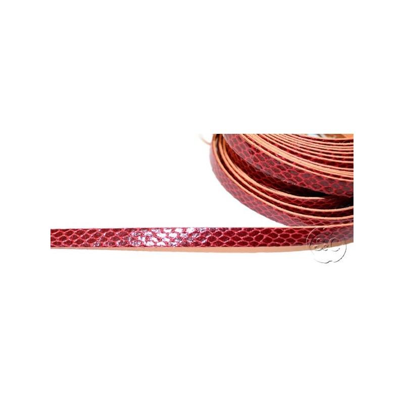 Tira de cuero fantasia serpiente granate, 8 mm, 0,50 metros