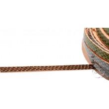 Tira de cuero fantasia serpiente marron, 8 mm, 0,50 metros
