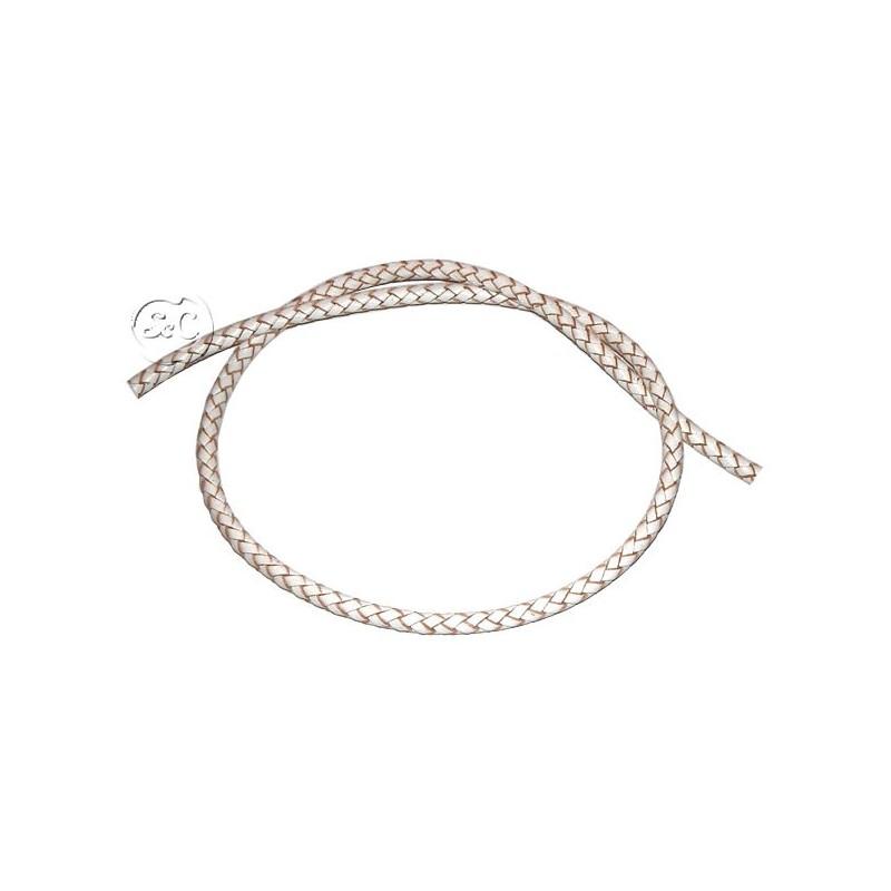 Cuero trenzado blanco 5 mm. 50 cm