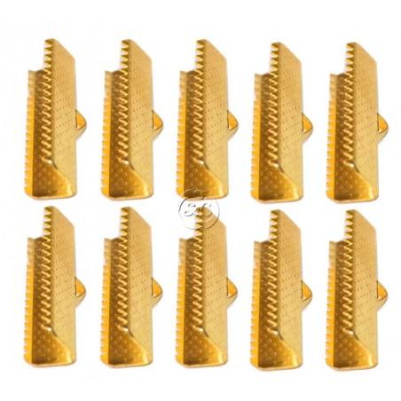 Terminal dentado para bisuteria dorado, 25 mm, 10 unidades