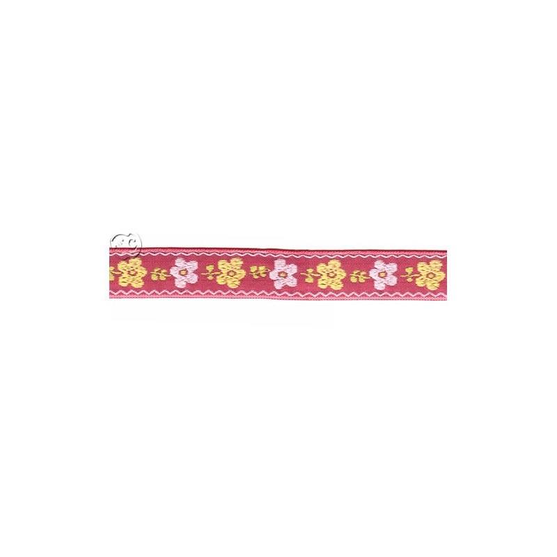 CInta bordada roja con flores, 1 metro