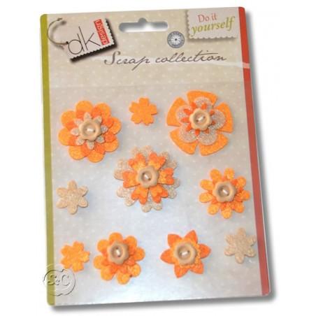 Flores de fieltro adhesivas naranja 3D