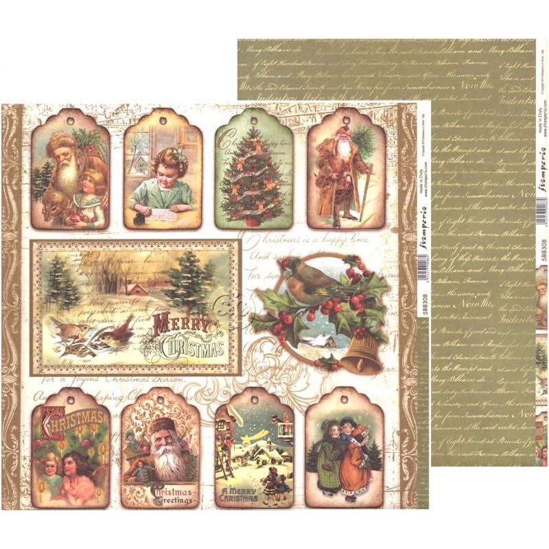 Papel scrap de navidad especial etiquetas, Stamperia